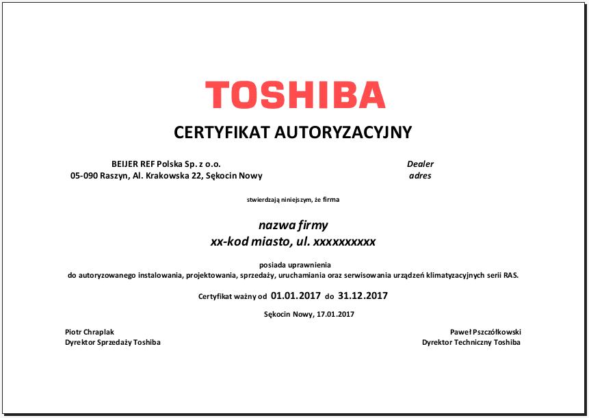 Certyfikat instalator RAS 2017