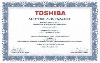 Certyfikat autoryzacyjny TOSHIBA