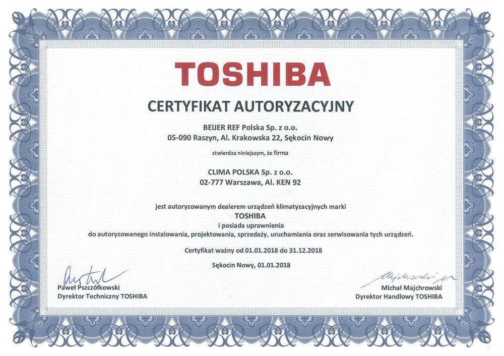 Certyfikat autoryzacyjny Toshiba dla Clima Polska