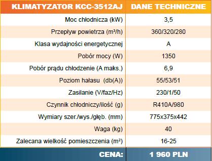 Klimatyzator KCC-3512 AJ Cennik