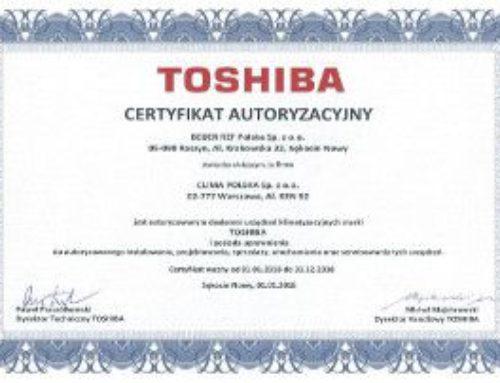Uzyskaliśmy certyfikat autoryzacyjny TOSHIBA